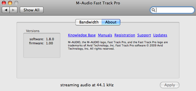 m audio drivers fast track pro mac